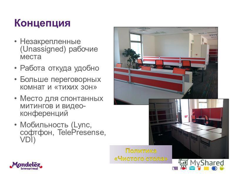 Концепция Незакрепленные (Unassigned) рабочие места Работа откуда удобно Больше переговорных комнат и «тихих зон» Место для спонтанных митингов и видео- конференций Мобильность (Lync, софтфон, TelePresense, VDI)