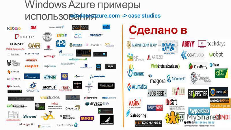 Сделано в России windowsazure.com -> case studies