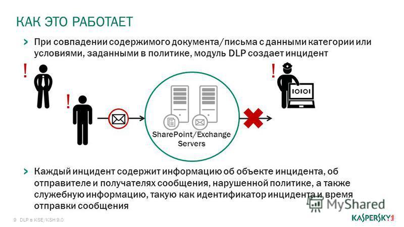 9 КАК ЭТО РАБОТАЕТ DLP в KSE/KSH 9.0 При совпадении содержимого документа/письма с данными категории или условиями, заданными в политике, модуль DLP создает инцидент Каждый инцидент содержит информацию об объекте инцидента, об отправителе и получател