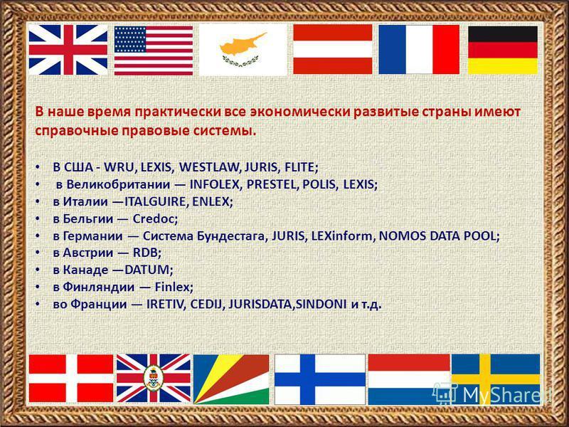 В наше время практически все экономически развитые страны имеют справочные правовые системы. В США - WRU, LEXIS, WESTLAW, JURIS, FLITE; в Великобритании INFOLEX, PRESTEL, POLIS, LEXIS; в Италии ITALGUIRE, ENLEX; в Бельгии Credoc; в Германии Система Б
