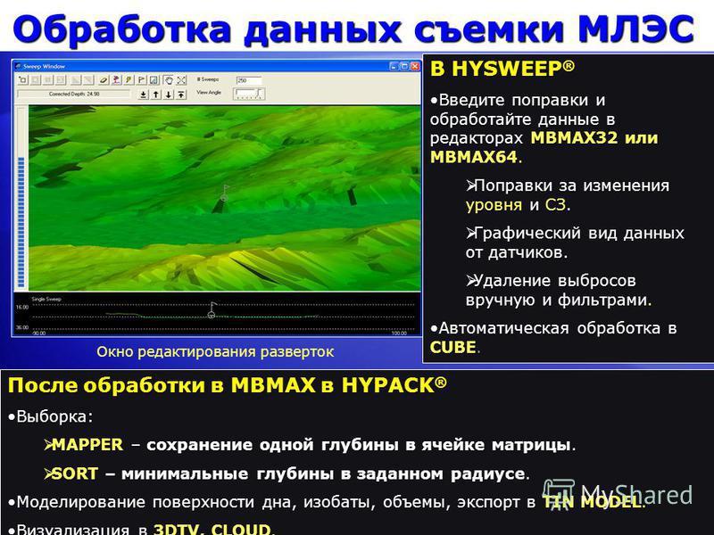 Обработка данных съемки МЛЭС В HYSWEEP ® Введите поправки и обработайте данные в редакторах MBMAX32 или MBMAX64. Введите поправки и обработайте данные в редакторах MBMAX32 или MBMAX64. Поправки за изменения уровня и СЗ. Поправки за изменения уровня и