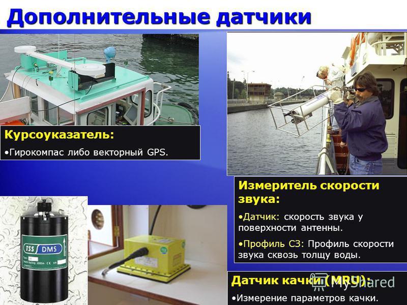 Дополнительные датчики Датчик качки (MRU): Измерение параметров качки.Измерение параметров качки. Курсоуказатель: Гирокомпас либо векторный GPS.Гирокомпас либо векторный GPS. Измеритель скорости звука: Датчик: скорость звука у поверхности антенны.Дат