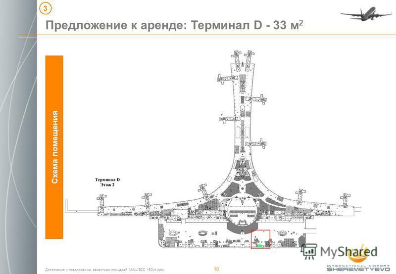 Дополнения к предложению вакантных площадей МАШ B2C 15Окт.pptx 10 Схема помещения Предложение к аренде: Терминал D - 33 м 2 3