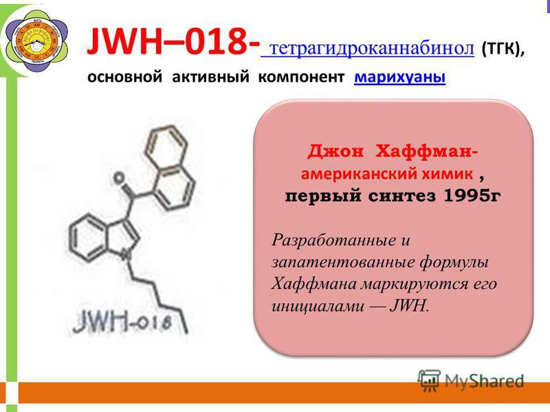 Джон Хаффман- американский химик, первый синтез 1995 г Разработанные и запатентованные формулы Хаффмана маркируются его инициалами JWH. Джон Хаффман- американский химик, первый синтез 1995 г Разработанные и запатентованные формулы Хаффмана маркируютс