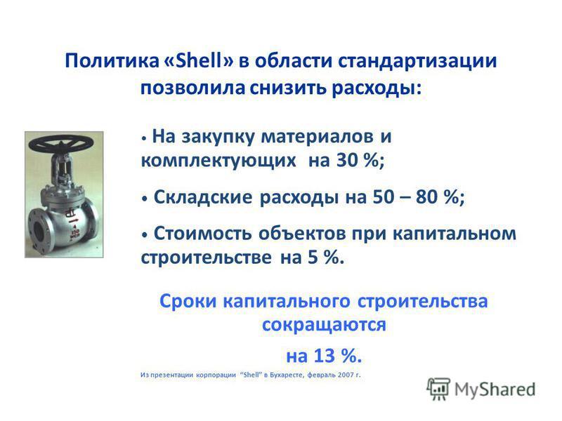 Сроки капитального строительства сокращаются на 13 %. Из презентации корпорации Shell в Бухаресте, февраль 2007 г. Политика «Shell» в области стандартизации позволила снизить расходы: На закупку материалов и комплектующих на 30 %; Складские расходы н
