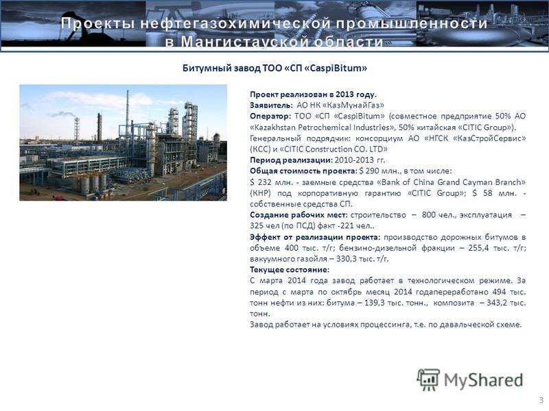 . 3 Битумный завод ТОО «СП «CaspiBitum» Проект реализован в 2013 году. Заявитель: АО НК «Каз МунайГаз» Оператор: ТОО «СП «CaspiBitum» (совместное предприятие 50% АО «Kazakhstan Petrochemical Industries», 50% китайская «CITIC Group»). Генеральный подр