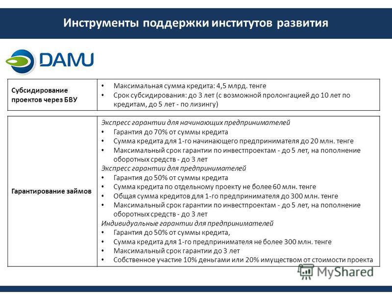 Инструменты поддержки институтов развития Субсидирование проектов через БВУ Максимальная сумма кредита: 4,5 млрд. тенге Срок субсидирования: до 3 лет (с возможной пролонгацией до 10 лет по кредитам, до 5 лет - по лизингу) Гарантирование займов Экспре