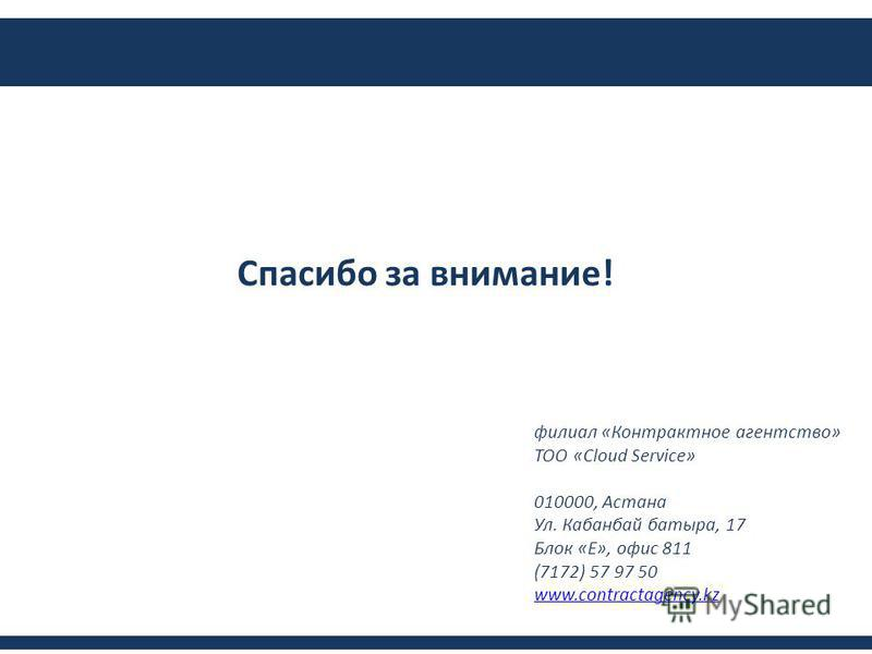 Спасибо за внимание! филиал «Контрактное агентство» ТОО «Cloud Service» 010000, Астана Ул. Кабанбай батыра, 17 Блок «Е», офис 811 (7172) 57 97 50 www.contractagency.kz