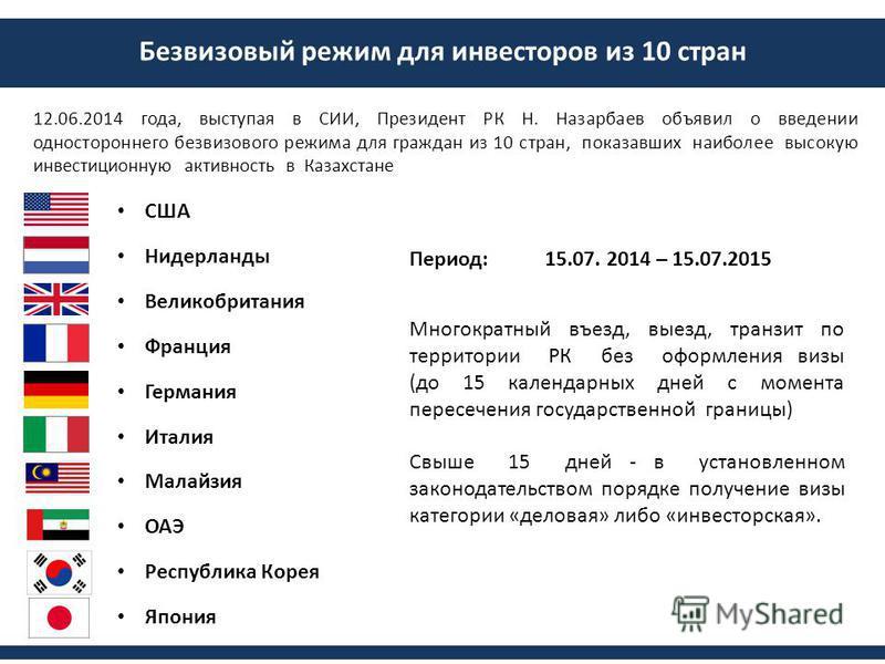 Безвизовый режим для инвесторов из 10 стран 12.06.2014 года, выступая в СИИ, Президент РК Н. Назарбаев объявил о введении одностороннего безвизового режима для граждан из 10 стран, показавших наиболее высокую инвестиционную активность в Казахстане СШ