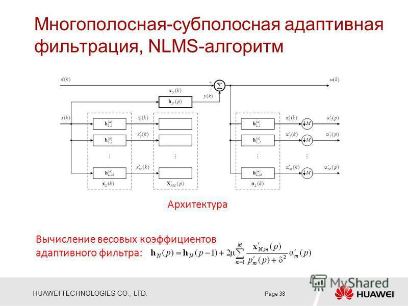 HUAWEI TECHNOLOGIES CO., LTD. Многополосная-субполосная адаптивная фильтрация, NLMS-алгоритм Page 38 Архитектура Вычисление весовых коэффициентов адаптивного фильтра: