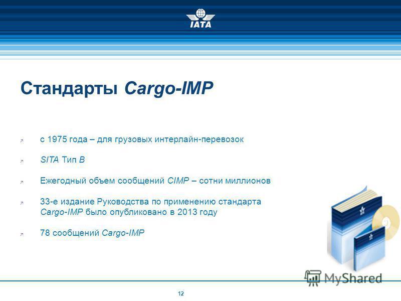 Стандарты Cargo-IMP с 1975 года – для грузовых интерлайн-перевозок SITA Тип B Ежегодный объем сообщений CIMP – сотни миллионов 33-е издание Руководства по применению стандарта Cargo-IMP было опубликовано в 2013 году 78 сообщений Cargo-IMP 12