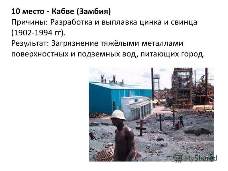 10 место - Кабве (Замбия) Причины: Разработка и выплавка цинка и свинца (1902-1994 гг). Результат: Загрязнение тяжёлыми металлами поверхностных и подземных вод, питающих город.