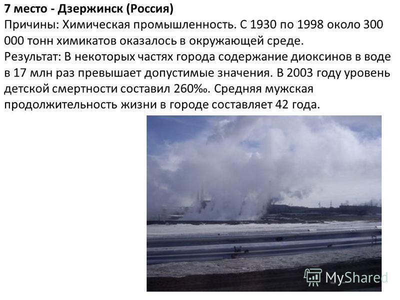 7 место - Дзержинск (Россия) Причины: Химическая промышленность. С 1930 по 1998 около 300 000 тонн химикатов оказалось в окружающей среде. Результат: В некоторых частях города содержание диоксинов в воде в 17 млн раз превышает допустимые значения. В