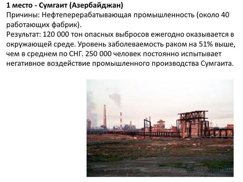 1 место - Сумгаит (Азербайджан) Причины: Нефтеперерабатывающая промышленность (около 40 работающих фабрик). Результат: 120 000 тон опасных выбросов ежегодно оказывается в окружающей среде. Уровень заболеваемость раком на 51% выше, чем в среднем по СН