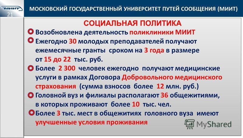 МОСКОВСКИЙ ГОСУДАРСТВЕННЫЙ УНИВЕРСИТЕТ ПУТЕЙ СООБЩЕНИЯ (МИИТ) СОЦИАЛЬНАЯ ПОЛИТИКА Возобновлена деятельность поликлиники МИИТ Ежегодно 30 молодых преподавателей получают ежемесячные гранты сроком на 3 года в размере от 15 до 22 тыс. руб. Более 2 300 ч