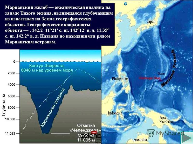 Марианский жёлоб океаническая впадина на западе Тихого океана, являющаяся глубочайшим из известных на Земле географических объектов. Географические координаты объекта, 142.2 11°21 с. ш. 142°12 в. д. 11.35° с. ш. 142.2° в. д. Названа по находящимся ря