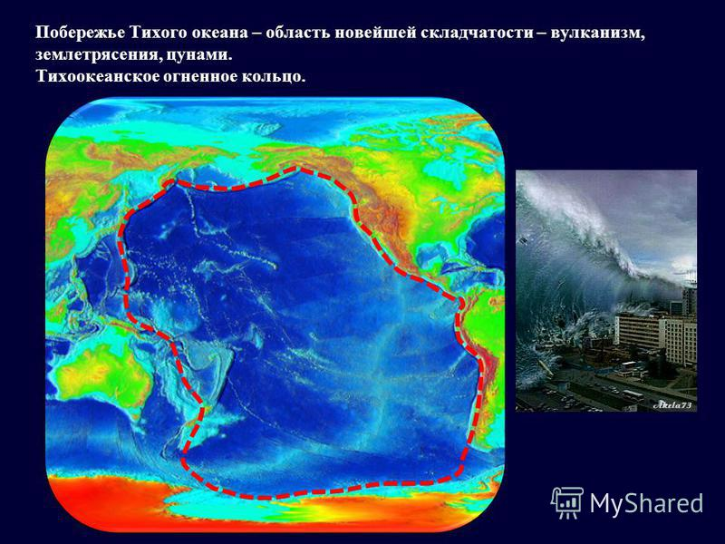 Побережье Тихого океана – область новейшей складчатости – вулканизм, землетрясения, цунами. Тихоокеанское огненное кольцо.