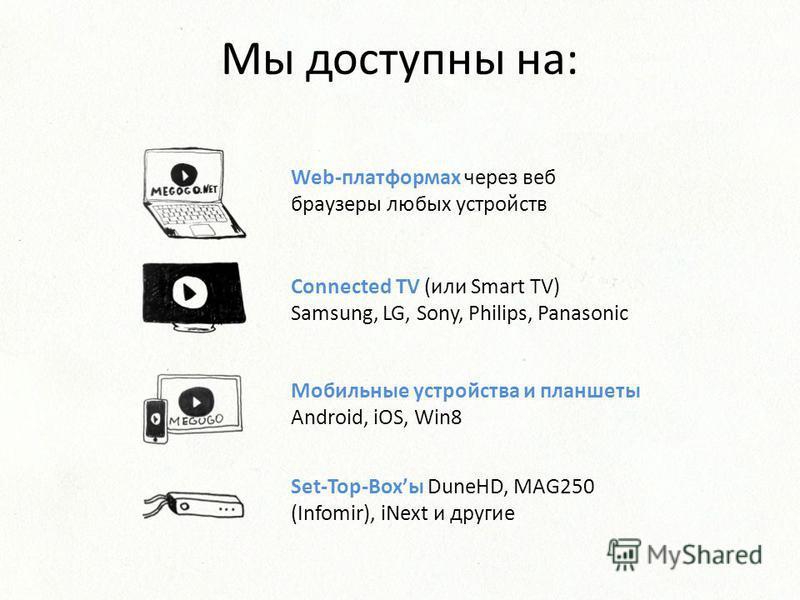 Мы доступны на: Web-платформах через веб браузеры любых устройств Connected TV (или Smart TV) Samsung, LG, Sony, Philips, Panasonic Мобильные устройства и планшеты Android, iOS, Win8 Set-Top-Boxы DuneHD, MAG250 (Infomir), iNext и другие