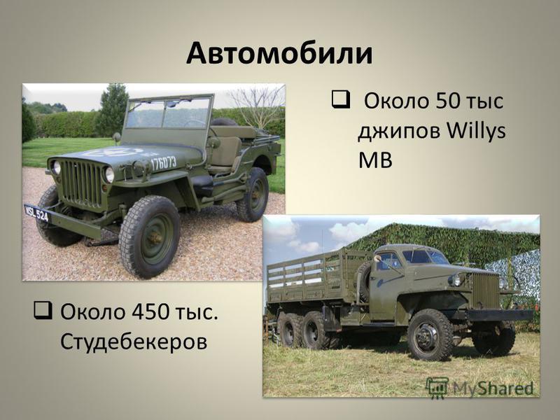 Автомобили Около 450 тыс. Студебекеров Около 50 тыс джипов Willys MB