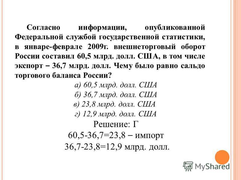 Согласно информации, опубликованной Федеральной службой государственной статистики, в январе-феврале 2009 г. внешнеторговый оборот России составил 60,5 млрд. долл. США, в том числе экспорт – 36,7 млрд. долл. Чему было равно сальдо торгового баланса Р