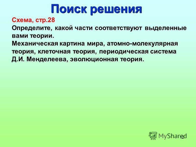 12 Поиск решения Схема, стр.28 Определите, какой части соответствуют выделенные вами теории. Механическая картина мира, атомно-молекулярная теория, клеточная теория, периодическая система Д.И. Менделеева, эволюционная теория.