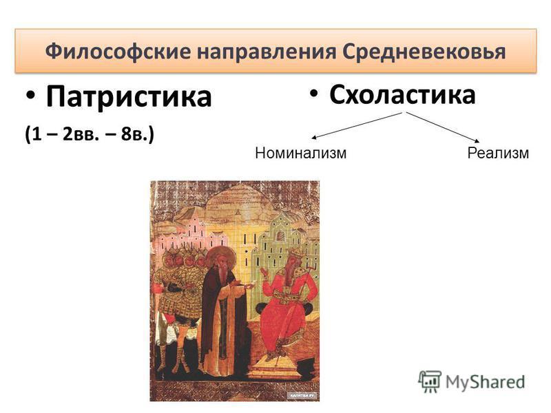 Патристика (1 – 2 вв. – 8 в.) Схоластика Номинализм Реализм Философские направления Средневековья