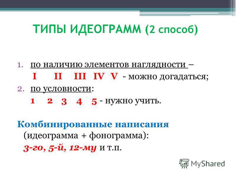 ТИПЫ ИДЕОГРАММ ( 2 способ ) 1. по наличию элементов наглядности – I II III IV V - можно догадаться; 2. по условности: 1 23 4 5 - нужно учить. Комбинированные написания (идеограмма + фонограмма): 3-го, 5-й, 12-му и т.п.