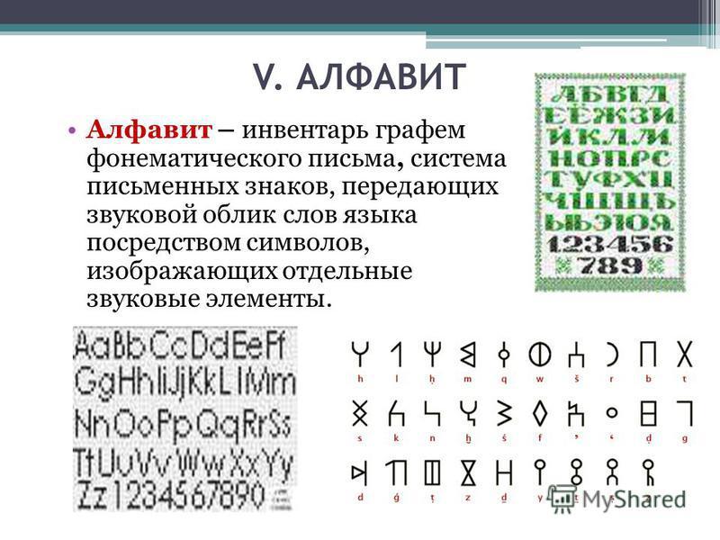 V. АЛФАВИТ Алфавит – инвентарь графем фонематического письма, система письменных знаков, передающих звуковой облик слов языка посредством символов, изображающих отдельные звуковые элементы.