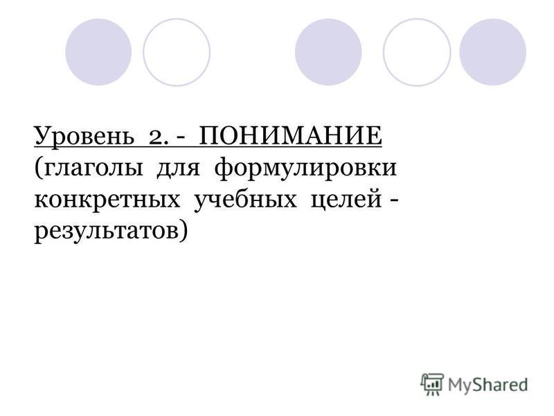 Уровень 2. - ПОНИМАНИЕ (глаголы для формулировки конкретных учебных целей - результатов)