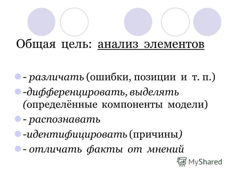 Общая цель: анализ элементов - различать (ошибки, позиции и т. п.) -дифференцировать, выделять (определённые компоненты модели) - распознавать -идентифицировать (причины) - отличать факты от мнений