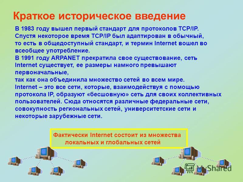 В 1983 году вышел первый стандарт для протоколов TCP/IP. Спустя некоторое время TCP/IP был адаптирован в обычный, то есть в общедоступный стандарт, и термин Internet вошел во всеобщее употребление. В 1991 году ARPANET прекратила свое существование, с