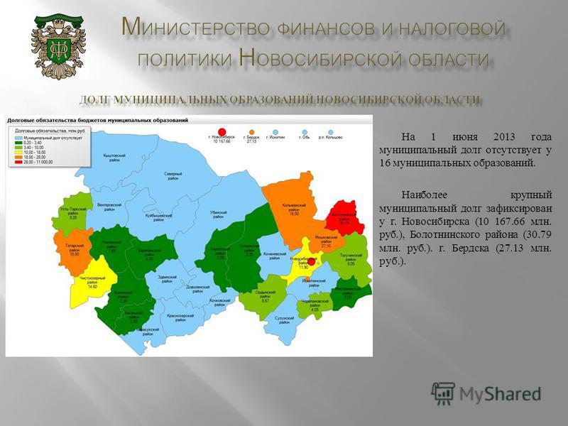 На 1 июня 2013 года муниципальный долг отсутствует у 16 муниципальных образований. Наиболее крупный муниципальный долг зафиксирован у г. Новосибирска (10 167.66 млн. руб.), Болотнинского района (30.79 млн. руб.). г. Бердска (27.13 млн. руб.).