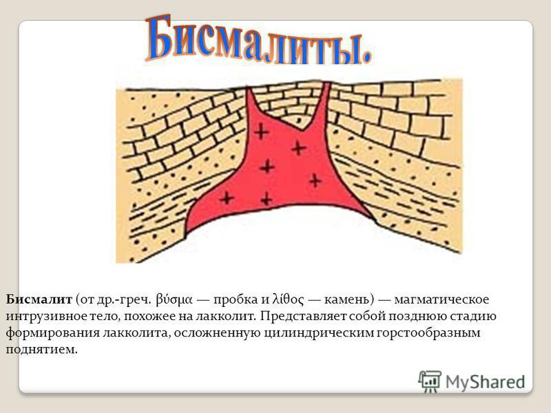 Бисмалит (от др.-греч. βύσμα пробка и λίθος камень) магматическое интрузивное тело, похожее на лакколит. Представляет собой позднюю стадию формирования лакколита, осложненную цилиндрическим горстообразным поднятием.