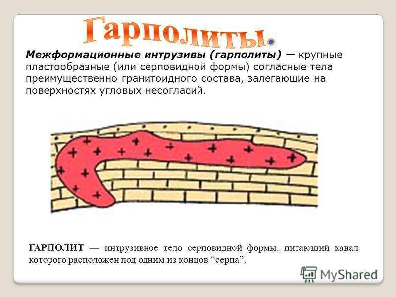 ГАРПОЛИТ интрузивное тело серповидной формы, питающий канал которого расположен под одним из концов серпа. Межформационные интрузивы (гарполиты) крупные пластообразные (или серповидной формы) согласные тела преимущественно гранитоидного состава, зале