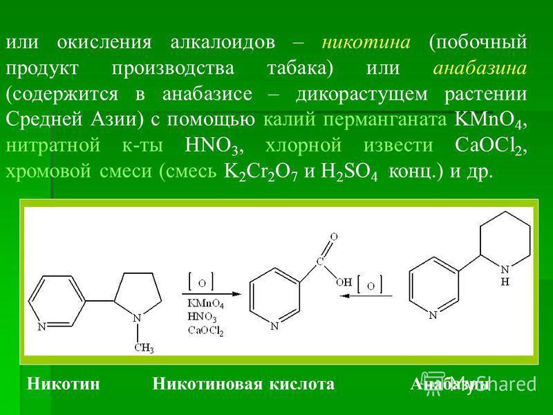 или окисления алкалоидов – никотина (побочный продукт производства табака) или анабазина (содержится в анабазисе – дикорастущем растении Средней Азии) с помощью калий перманганата KMnO 4, нитратной к-ты HNO 3, хлорной извести CaOCl 2, хромовой смеси
