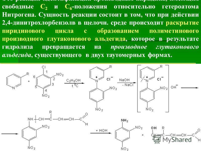 Это реакция идентификации производных пиридина, имеющих свободные С 2 и С 6 -положения относительно гетероатома Нитрогена. Сущность реакции состоит в том, что при действии 2,4-динитрохлорбензолв в щелочн. среде происходит раскрытие пиридинового цикла