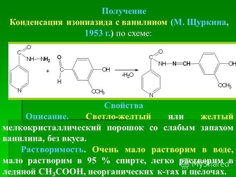 Получение Конденсация изониазида с ванилином (М. Щуркина, 1953 г.) по схеме: Свойства Описание. Светло-желтый или желтый мелкокристаллический порошок со слабым запахом ванилина, без вкуса. Растворимость. Очень мало растворим в воде, мало растворим в