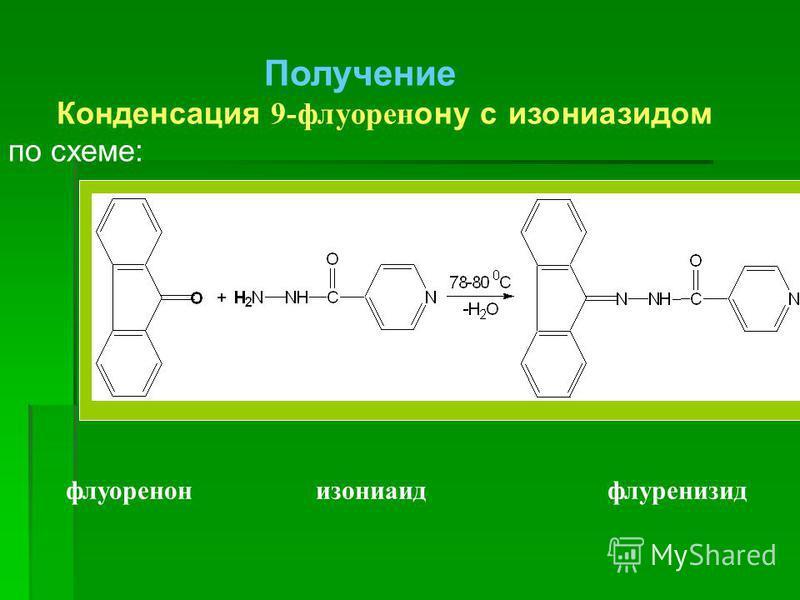 Получение Конденсация 9-флуорен ону с изониазидом по схеме: флуоренон изониаид флуренизид