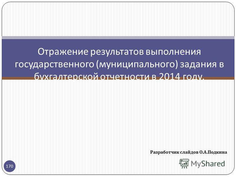 Разработчик слайдов О. А. Подкина 170 Отражение результатов выполнения государственного ( муниципального ) задания в бухгалтерской отчетности в 2014 году.