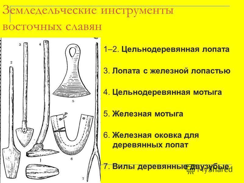 Земледельческие инструменты восточных славян 1–2. Цельнодеревянная лопата 3. Лопата с железной лопастью 4. Цельнодеревянная мотыга 5. Железная мотыга 6. Железная оковка для деревянных лопат 7. Вилы деревянные двузубые