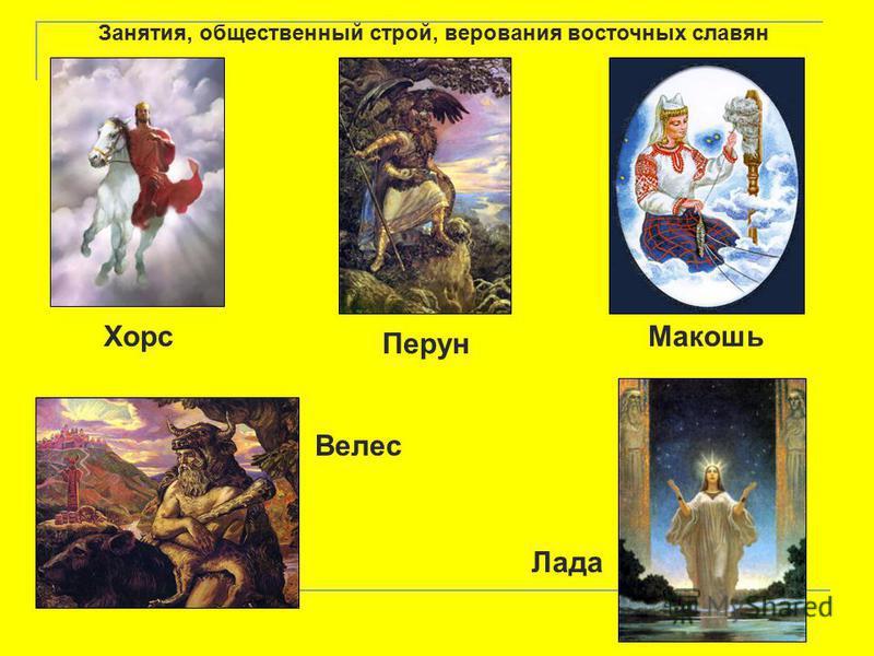 Занятия, общественный строй, верования восточных славян Хорс Перун Макошь Велес Лада