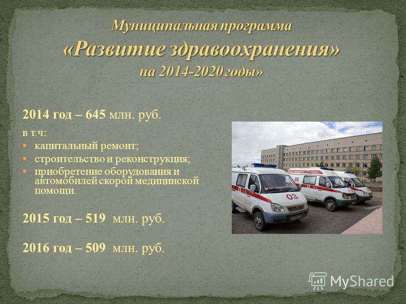 2014 год – 645 млн. руб. в т.ч: капитальный ремонт; строительство и реконструкция; приобретение оборудования и автомобилей скорой медицинской помощи. 2015 год – 519 млн. руб. 2016 год – 509 млн. руб.