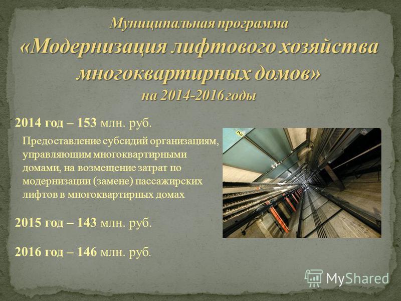 2014 год – 153 млн. руб. Предоставление субсидий организациям, управляющим многоквартирными домами, на возмещение затрат по модернизации (замене) пассажирских лифтов в многоквартирных домах 2015 год – 143 млн. руб. 2016 год – 146 млн. руб.