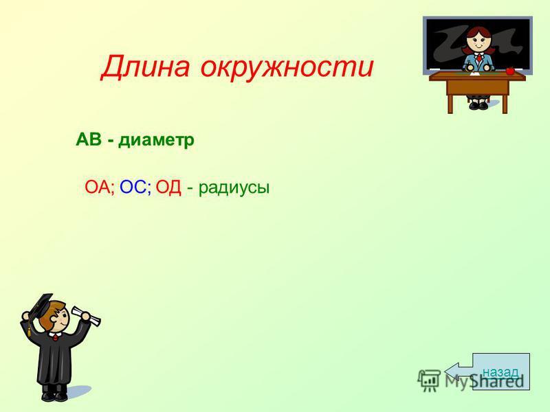 Длина окружности АВ - диаметр ОА; ОС; ОД - радиусы назад