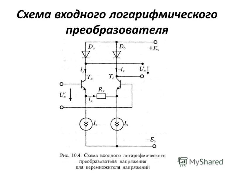 Схема входного логарифмического преобразователя