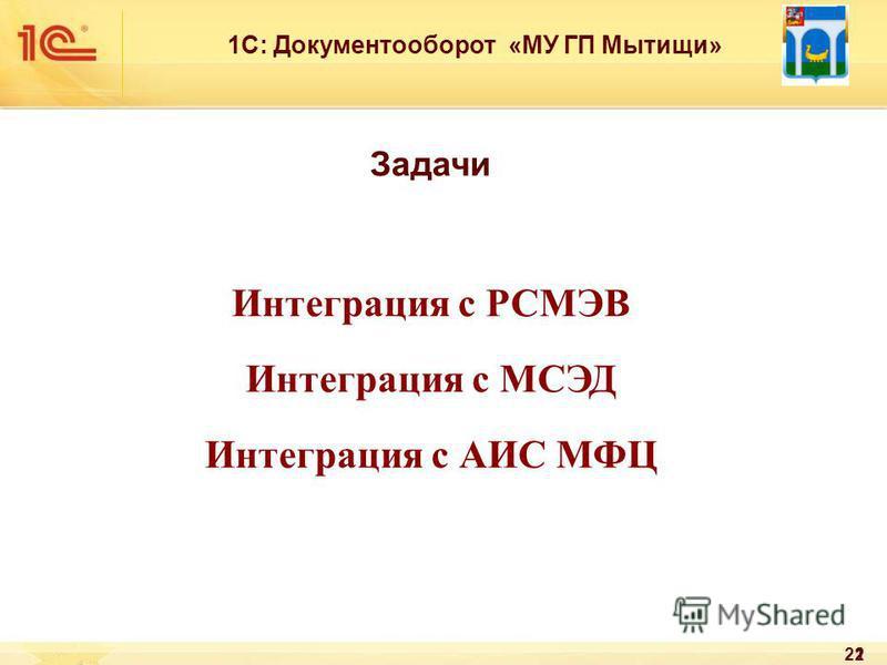 22 1С: Документооборот «МУ ГП Мытищи» Задачи Интеграция с РСМЭВ Интеграция с МСЭД Интеграция с АИС МФЦ