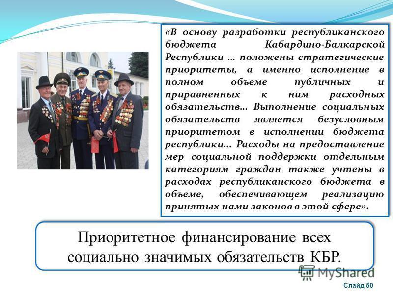 Приоритетное финансирование всех социально значимых обязательств КБР. « В основу разработки республиканского бюджета Кабардино-Балкарской Республики … положены стратегические приоритеты, а именно исполнение в полном объеме публичных и приравненных к