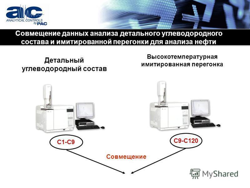 Детальный углеводородный состав Высокотемпературная имитированная перегонка C1-C9 C9-C120 Совмещение Совмещение данных анализа детального углеводородного состава и имитированной перегонки для анализа нефти