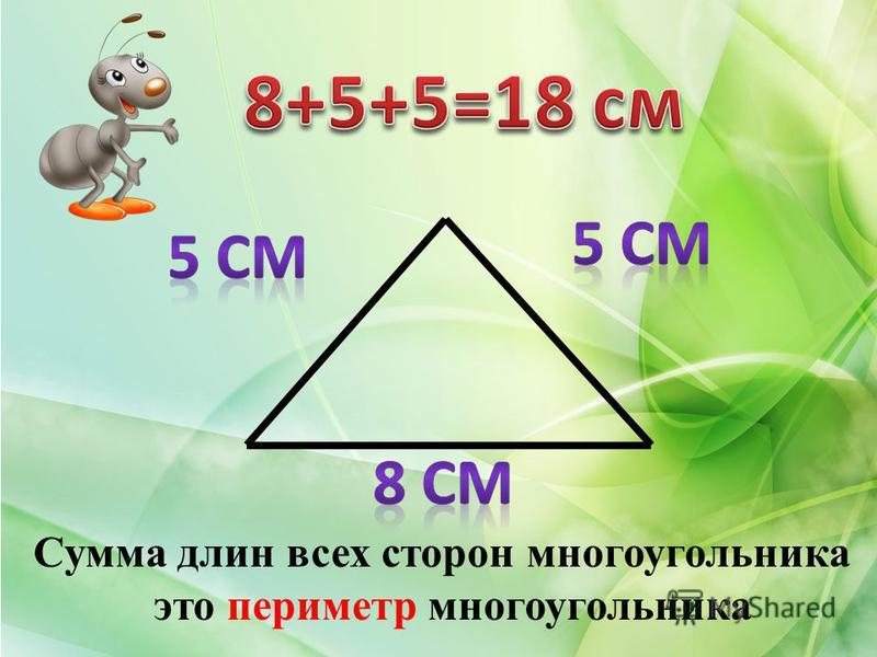 Сумма длин всех сторон многоугольника это периметр многоугольника