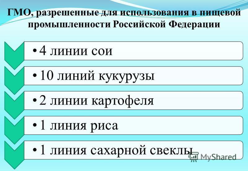 ГМО, разрешенные для использования в пищевой промышленности Российской Федерации 4 линии сои 10 линий кукурузы 2 линии картофеля 1 линия риса 1 линия сахарной свеклы